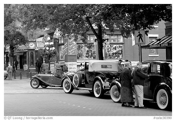 Classic cars in Water Street. Vancouver, British Columbia, Canada (black and white)