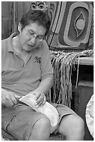 First nations carver. Vancouver, British Columbia, Canada (black and white)