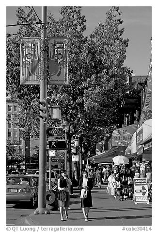 Chinatown street. Vancouver, British Columbia, Canada (black and white)