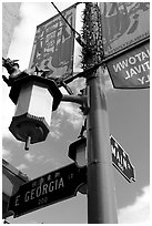 Street names in English and Chinese, Chinatown. Vancouver, British Columbia, Canada (black and white)