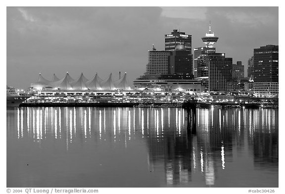 Canada Palace at night and Harbor Center at night. Vancouver, British Columbia, Canada (black and white)