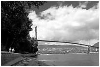 Lions Gate Bridge across Burrard Inlet. Vancouver, British Columbia, Canada (black and white)