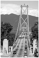 Lions Gate Bridge, mid-day. Vancouver, British Columbia, Canada (black and white)