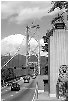 Lions Gate suspension bridge. Vancouver, British Columbia, Canada (black and white)