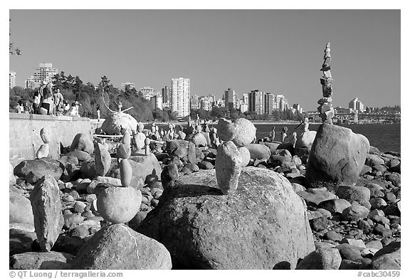 Balanced rocks and skyline, Stanley Park. Vancouver, British Columbia, Canada (black and white)