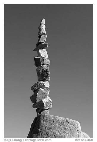Balanced rocks against blue sky, Stanley Park. Vancouver, British Columbia, Canada (black and white)