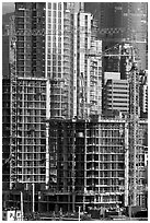 Residential towers in construction. Vancouver, British Columbia, Canada (black and white)
