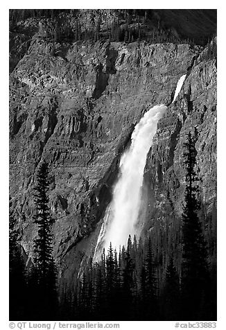 Takakkaw Falls from Yoho Valley Road, late afternoon. Yoho National Park, Canadian Rockies, British Columbia, Canada (black and white)