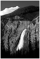 Takakkaw Falls, 254 meter high. Yoho National Park, Canadian Rockies, British Columbia, Canada (black and white)