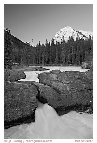 Natural Bridge and Mount Stephens, sunset. Yoho National Park, Canadian Rockies, British Columbia, Canada (black and white)