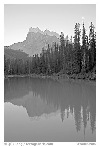 Mount Burgess reflected in Emerald Lake, sunset. Yoho National Park, Canadian Rockies, British Columbia, Canada (black and white)