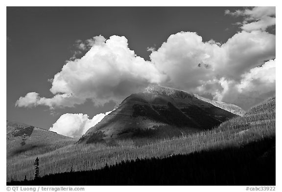 Peak, clouds, and shadows. Kootenay National Park, Canadian Rockies, British Columbia, Canada (black and white)