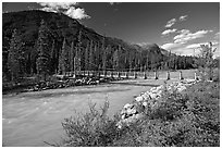 Suspension bridge spanning the Vermillion River. Kootenay National Park, Canadian Rockies, British Columbia, Canada ( black and white)