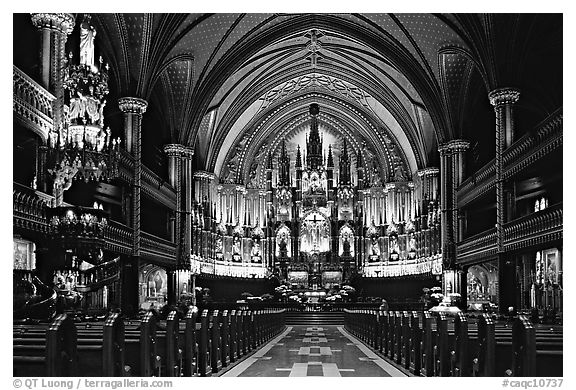 Interior of Basilique Notre Dame, Montreal. Quebec, Canada (black and white)