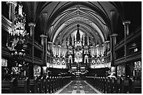Interior of Basilique Notre Dame, Montreal. Quebec, Canada ( black and white)