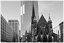 Church and modern buildings, Montreal. Quebec, Canada ( black and white)