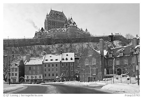 Black and white picture photo chateau frontenac on an overcast winter day quebec city quebec canada