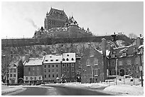 Chateau Frontenac on an overcast winter day, Quebec City. Quebec, Canada ( black and white)