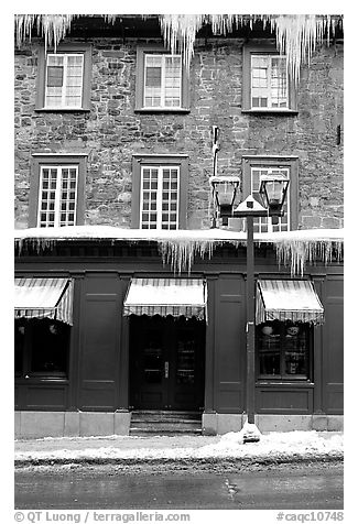 Facade with icicles, Quebec City. Quebec, Canada (black and white)