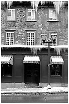 Facade with icicles, Quebec City. Quebec, Canada ( black and white)