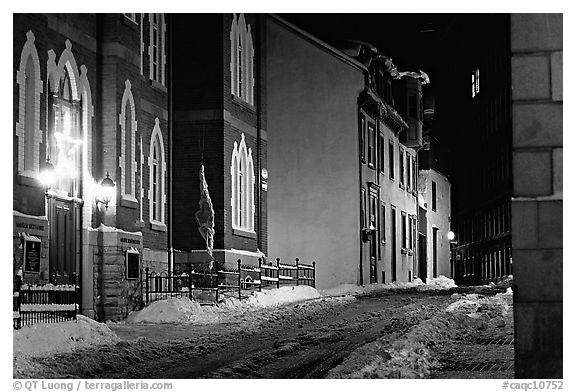 Street at night in winter, Quebec City. Quebec, Canada (black and white)