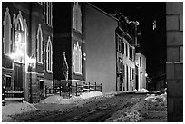 Street at night in winter, Quebec City. Quebec, Canada ( black and white)