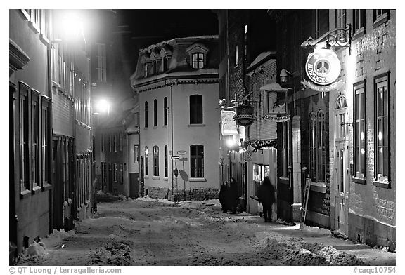 Hostel at night, Quebec City. Quebec, Canada (black and white)