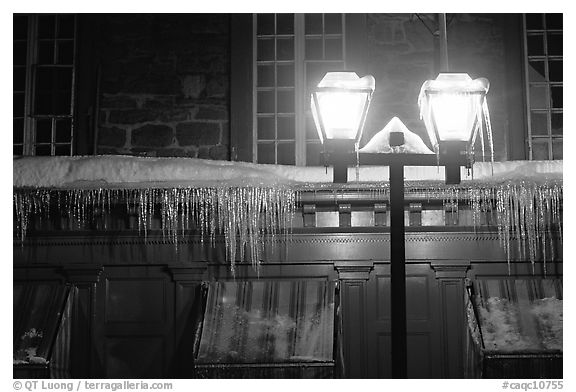Lamp and icicles at night, Quebec City. Quebec, Canada (black and white)
