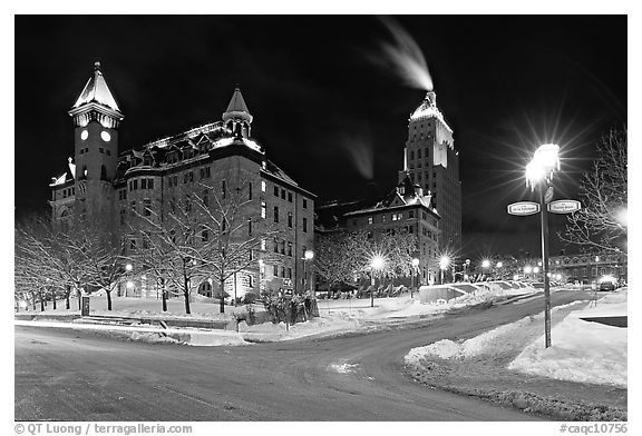 Square at night in winter, Quebec City. Quebec, Canada (black and white)