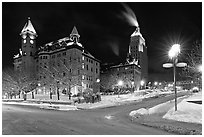Square at night in winter, Quebec City. Quebec, Canada ( black and white)