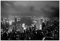 City lights from Victoria Peak by night. Hong-Kong, China (black and white)