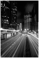 Expressway on Hong-Kong Island by night. Hong-Kong, China ( black and white)
