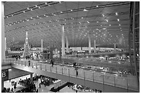 Inside main concourse at dusk, Beijing Capital International Airport. Beijing, China ( black and white)