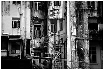 Facade of old buiding, Kowloon. Hong-Kong, China (black and white)