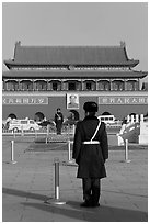 Gate of Heavenly Peace and guards, Tiananmen Square. Beijing, China ( black and white)