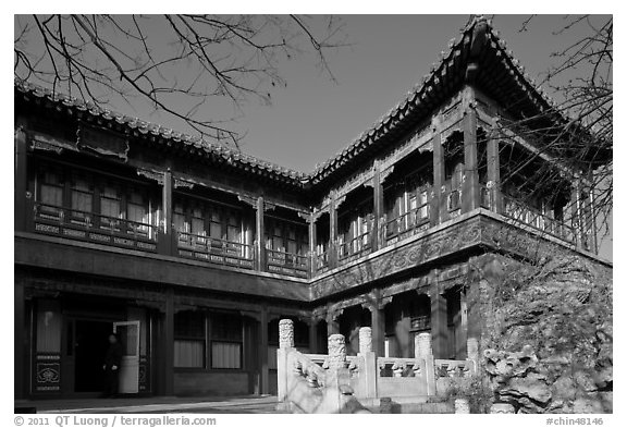 Eternal Spring Palace,  Forbidden City. Beijing, China (black and white)