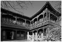Eternal Spring Palace,  Forbidden City. Beijing, China ( black and white)