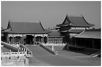 Corner Pavilion and gate, Front Court, Forbidden City. Beijing, China ( black and white)