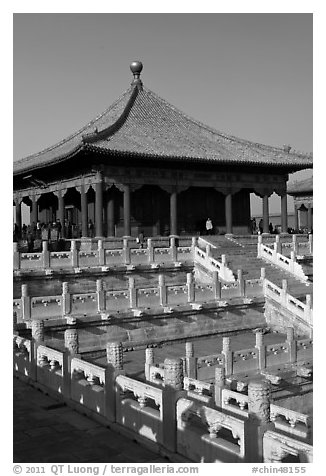 Hall of Central Harmony, Forbidden City. Beijing, China (black and white)
