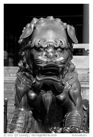 Gilded lion, Forbidden City. Beijing, China (black and white)