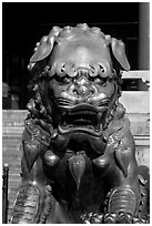Gilded lion, Forbidden City. Beijing, China ( black and white)