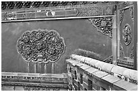 Wall detail with blazed building decoration, Forbidden City. Beijing, China ( black and white)