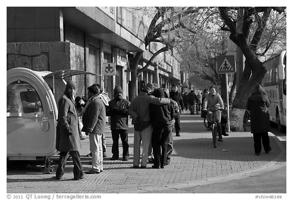 People on sidewalk. Beijing, China (black and white)