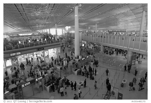 Security check area, Capital International Airport. Beijing, China (black and white)