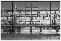 Reflections in glass and marble, Capital International Airport. Beijing, China ( black and white)