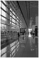 Departure area, Capital International Airport. Beijing, China ( black and white)