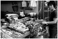 Food stall, Kowloon. Hong-Kong, China (black and white)
