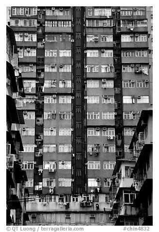 High-rise residential building in a popular district, Kowloon. Hong-Kong, China (black and white)