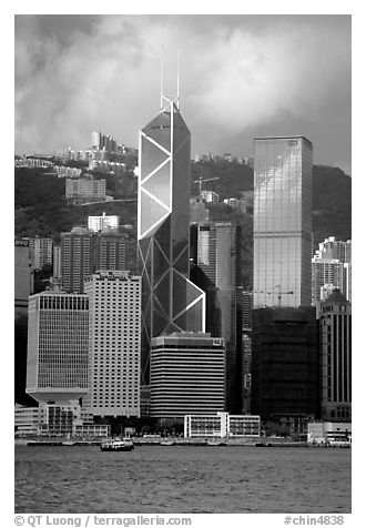 Landmark Bank of China building, whose triangular shapes were designed by Pei. Hong-Kong, China (black and white)