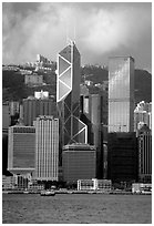 Landmark Bank of China building, whose triangular shapes were designed by Pei. Hong-Kong, China ( black and white)